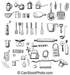 Kitchen set. Large collection of hand - drawn kitchen ...