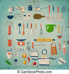 Kitchen set. Large collection of kitchen related objects on ...