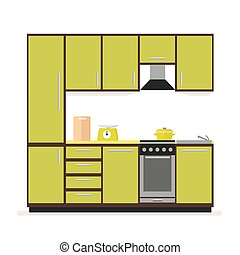 Kitchen set. Modern kitchen furniture in a flat style isolated on a white background.