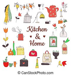 Kitchen set with utensils, herbs, flowers for culinary card, sketchy style. Vector graphic illustration