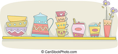 Kitchen Shelf - Illustration of a Kitchen Shelf Holding...
