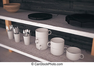 Kitchen shelves closeup - Close up of kitchen shelves with...