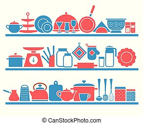 kitchen shelves with utensils for cooking