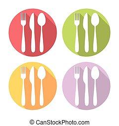 Kitchen Silverware Flat Icons Set
