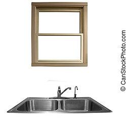 Kitchen Sink - a window overlooking a kitchen sink on a...