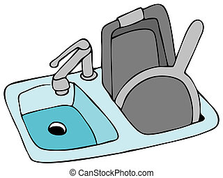 Kitchen Sink - An image of a kitchen sink with pans.
