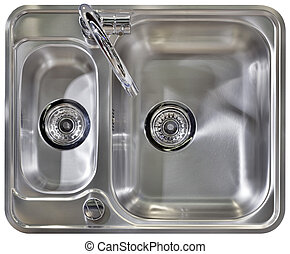 Kitchen Sink Cutout - Stainless Water Tap and Wash Sinks...