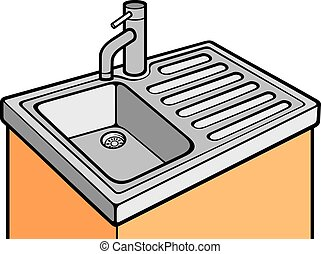 kitchen sink illustrations and clipart 4 870 kitchen sink royalty rh canstockphoto com sink clip art smocks for sand and water sink clip art black and white