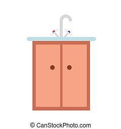 Kitchen sink in flat style vector illustration