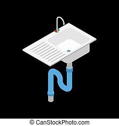Kitchen sink isometry isolated. Kitchen utensils. Vector illustration