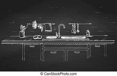 Kitchen sink. Kitchen worktop with sink and drawn on a...