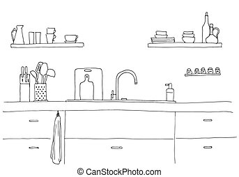 Kitchen sink. Kitchen worktop with sink. The sketch of the ...