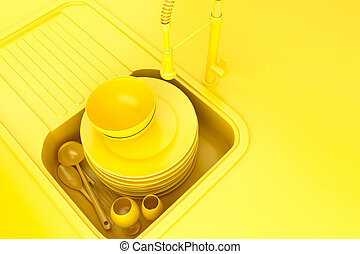 Kitchen sink with dirty kitchenware and dishes. 3D illustration