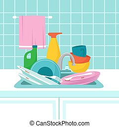 Kitchen sink with dirty plates. Pile of dirty dishes, glasses and wash sponge. Vector illustration