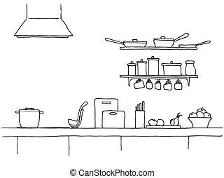 Kitchen sketch. Kitchen worktop. The sketch of the kitchen.