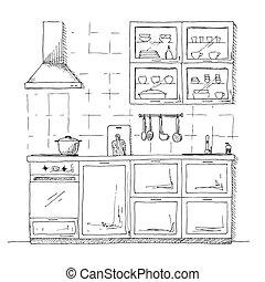 Kitchen sketch plan. Hand made vector illustration.