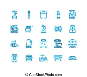 Kitchen small appliances line icons. Household cooking tools...