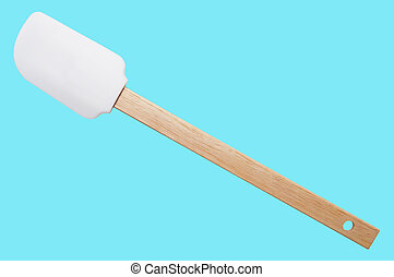 Kitchen spatula silicone with wooden handle on blue background. Isolated.
