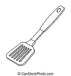 Kitchen spatula.BBQ single icon in outline style...