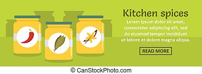 Kitchen spices banner horizontal concept
