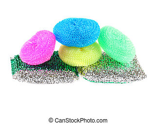 Kitchen sponge isolated on the white background