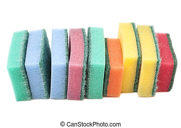 Kitchen sponges isolated on white