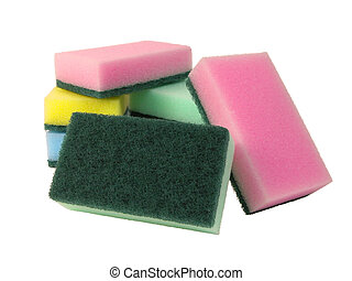kitchen sponges isolated over white background