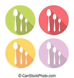 Kitchen Spoon Flat Icons Set