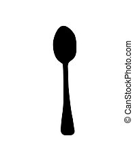 Kitchen Spoon Silhouette isolated on a white background.
