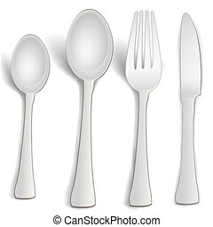 kitchen spoons - illustration of kitchen spoons on white...