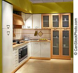 Kitchen square - Modern wooden kitchen counter with big...