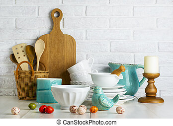 Kitchen still life with ceramic bird and easter eggs