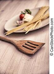 Kitchen still life with pasta