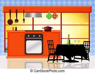 kitchen - illustration of kitchen
