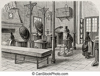 Kitchen - Antique illustration of the kitchen of Saint Anne...