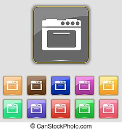 kitchen stove icon sign. Set with eleven colored buttons for your site. Vector