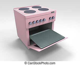 Kitchen stove - pink kitchen stove with open oven