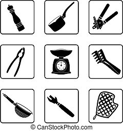 Kitchen supplies - kitchen objects silhouettes in a nine ...