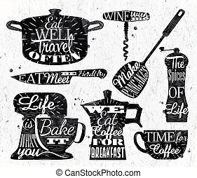 Kitchen symbol vintage lettering restaurant - Kitchen symbol...