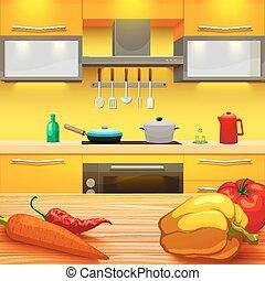 kitchen table clipart. kitchen table illustration - colorful cartoon style kitchen. clipart