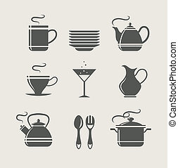 kitchen tableware set of icons. vector illustration
