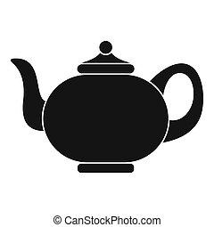 Kitchen teapot icon, simple style