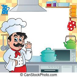 Kitchen theme frame 1 - vector illustration.
