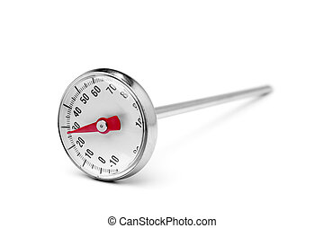 Kitchen thermometer on white background