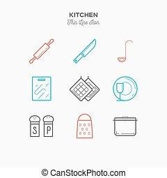 Kitchen thin line color icons set