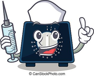 Kitchen timer humble nurse mascot design with a syringe