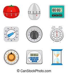 Kitchen timer icon set, flat style