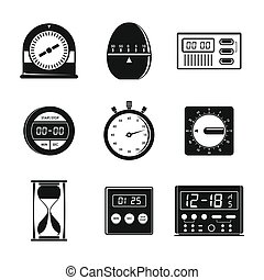 Kitchen timer icons set, simple style