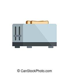 Kitchen toaster icon, flat style