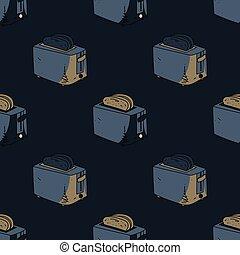 Kitchen toaster seamless pattern